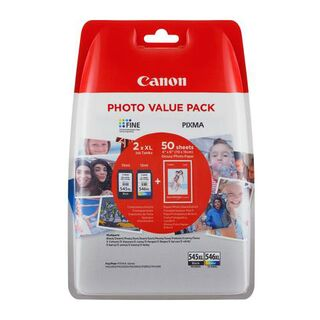 Canon PG-545XL + CL-546XL Value Pack Druckerpatronen + 50 Blatt Fotopapier (10x15cm)